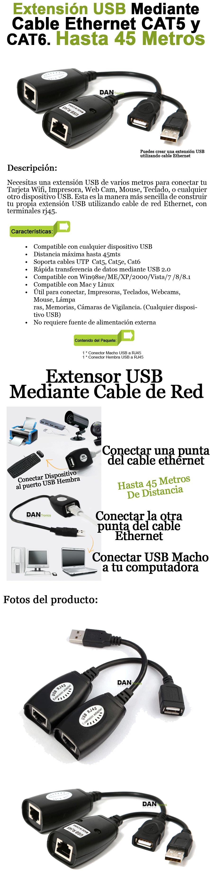 Con este adaptador puedes armar tu extension usb de hasta for Cable para internet precio por metro