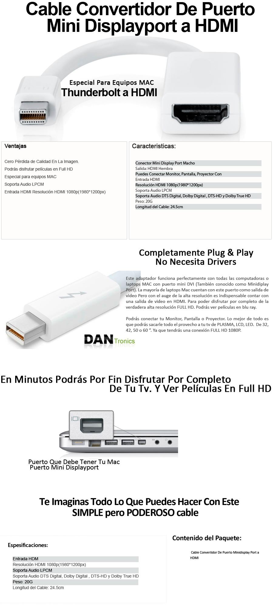 Compra Adaptador de Mini Displayport Thunderbolt a HDMI para Mac y ...